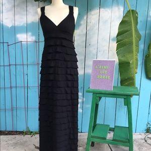 Max Studio Black Ruffle Maxi Dress
